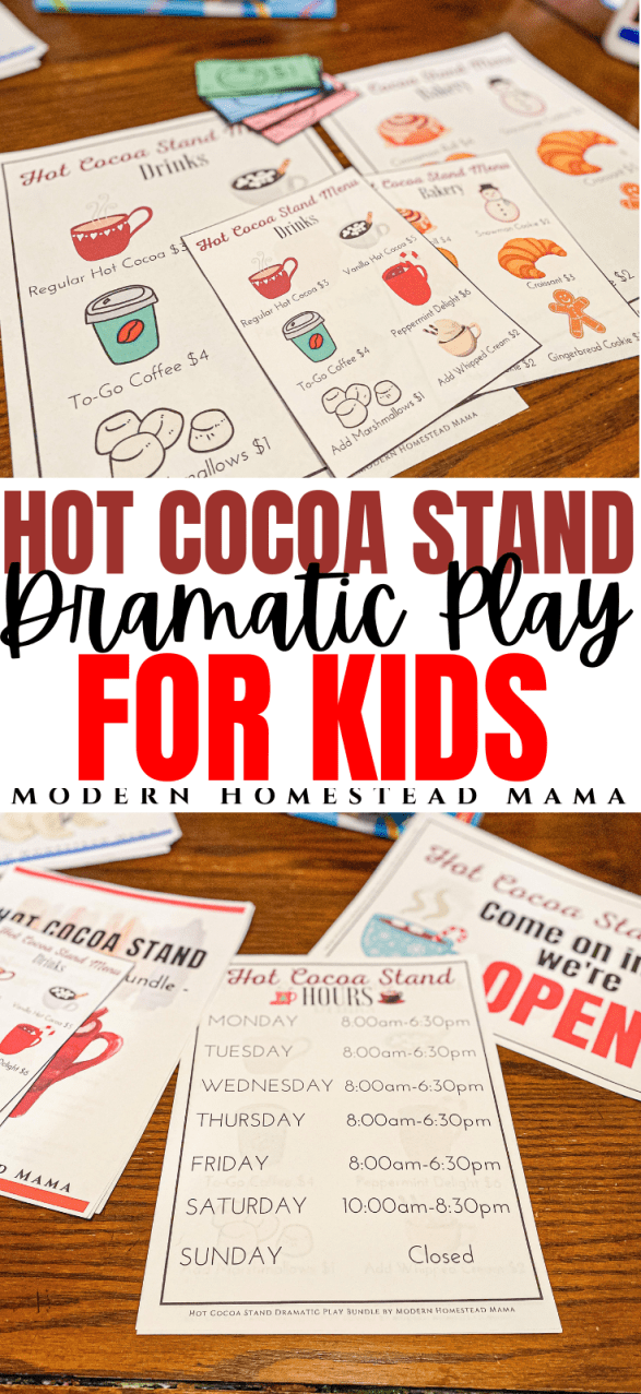 Hot Cocoa Stand Dramatic Play Printable Bundle for Kids | Modern Homestead Mama