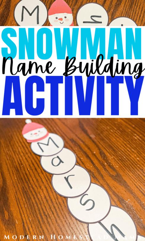 Snowman Name Building Activity for Preschoolers | Modern Homestead Mama