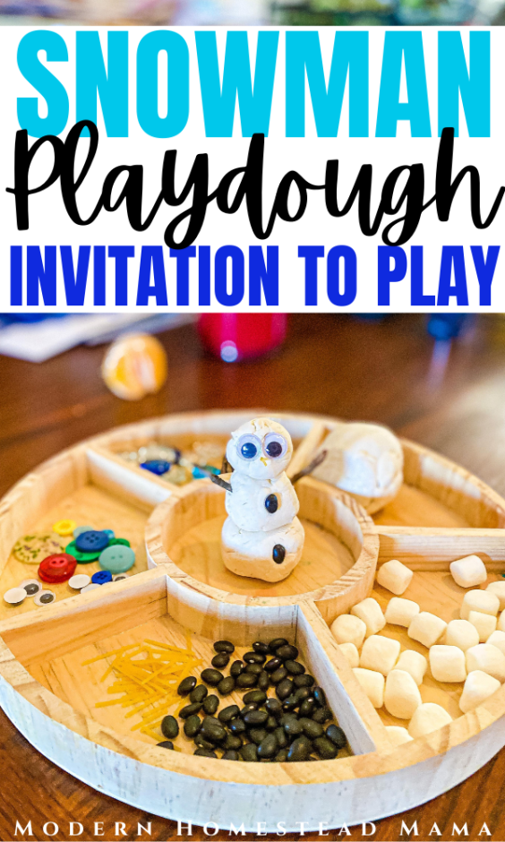 Snowman Playdough Tray | Winter Invitation to Play for Preschoolers | Modern Homestead Mama