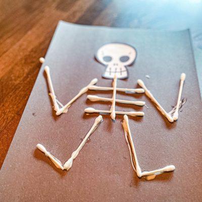 Q-Tip Skeleton Craft for Preschoolers