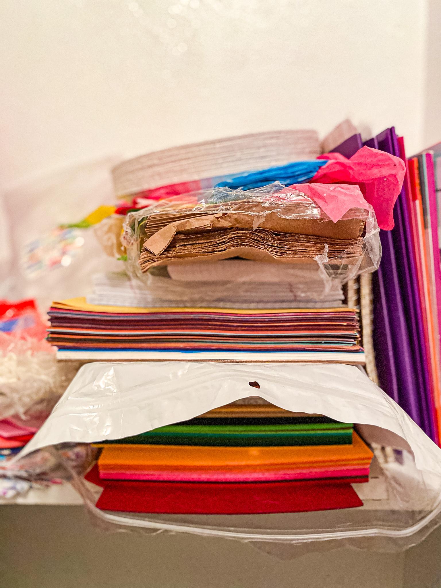 School Paper Stack - felt, construction paper, paper bags, tissue paper