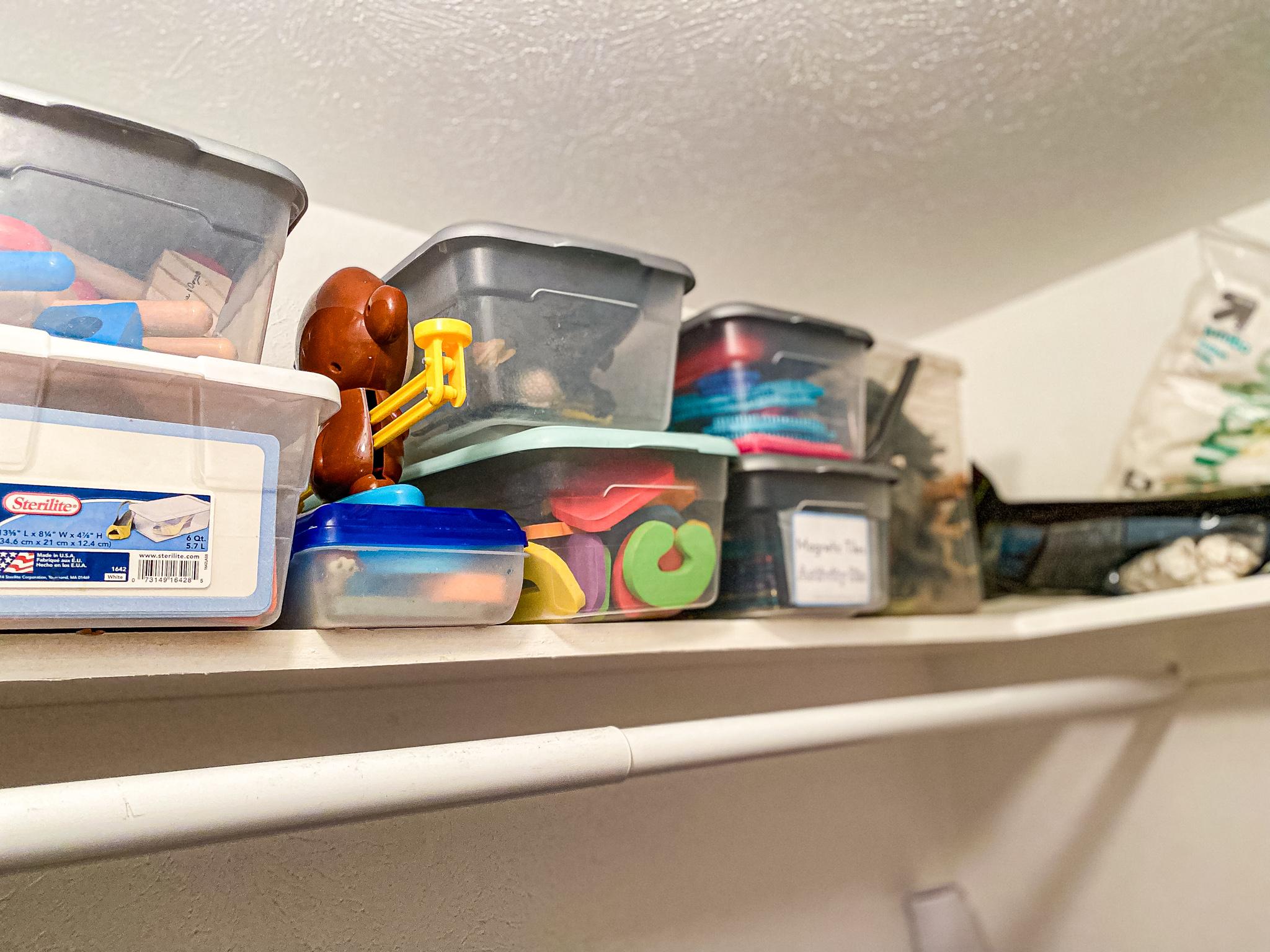 Organized homeschool closet toys