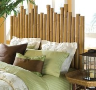 Bed with a bamboo headboard