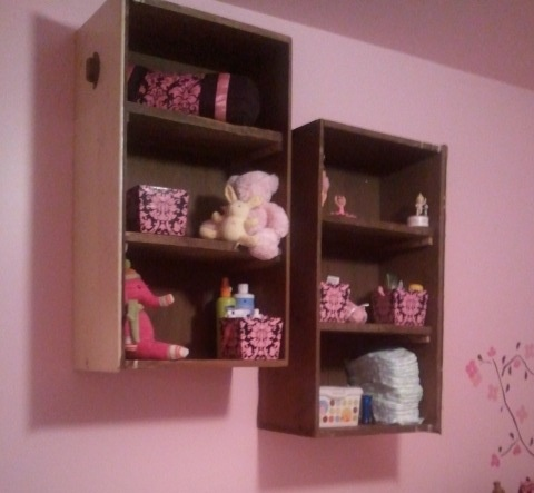 Old drawers turned into shelves