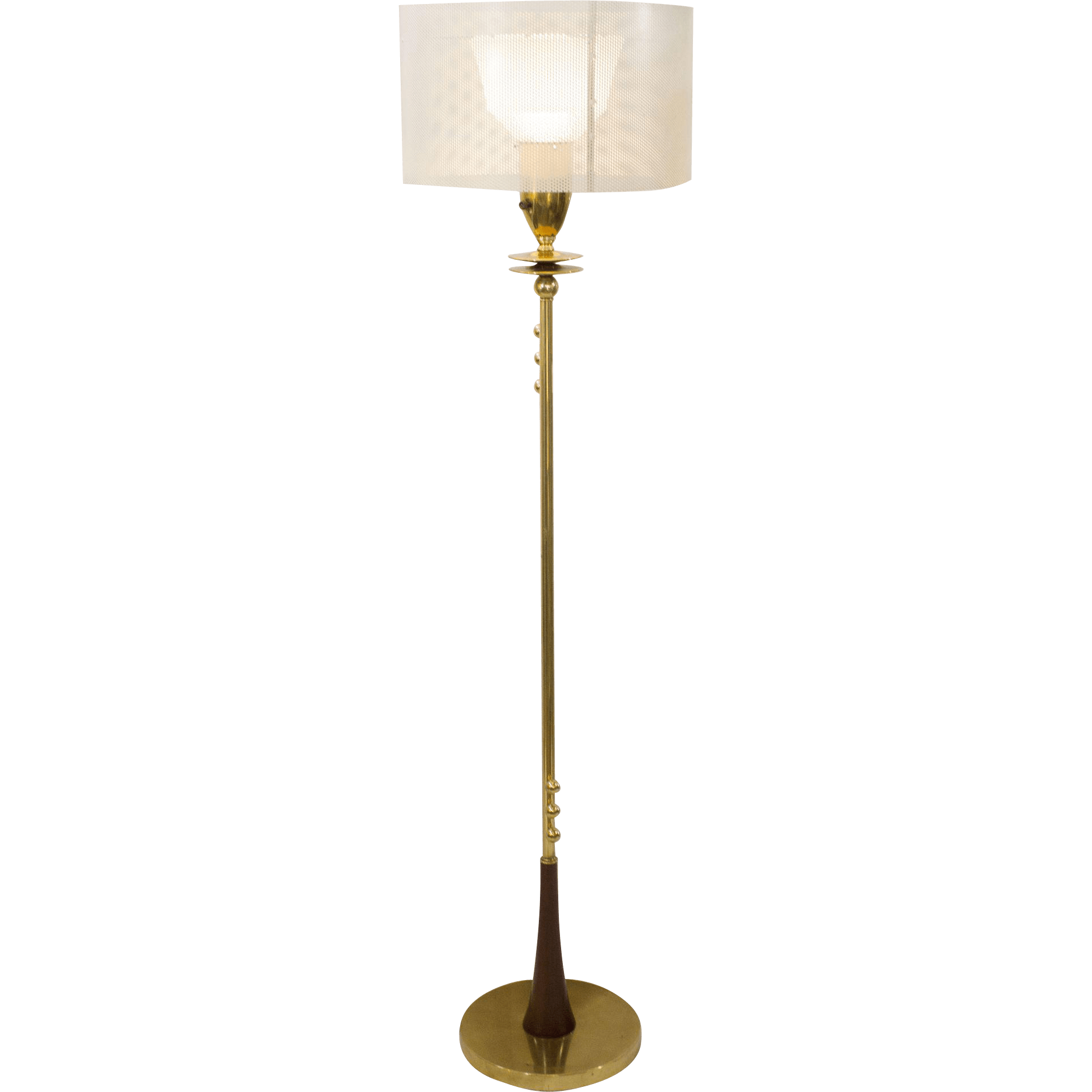 MidCentury Modern Brass Floor Lamp with Perforated Shade