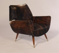 Italian Mid Century Modern Club Chairs Covered In Cowhide ...