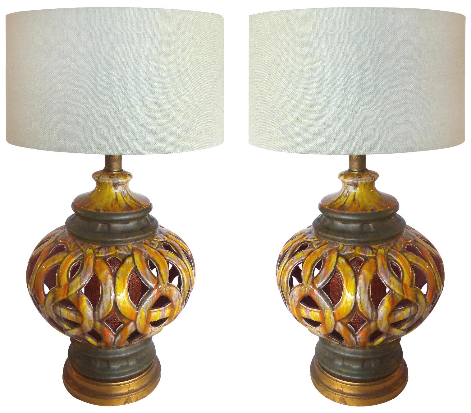 60s Pierced Ceramic Table Lamps Pair Modernism