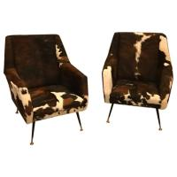 Pair of Italian Mid-Century Modern Club Chairs in Cowhide ...
