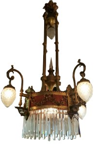 Antique Brass Chandelier With Cut Crystal Bowls | Modernism