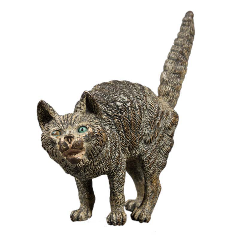 Antique Vienna Bronze Scared Cat With Tail Pointing Up