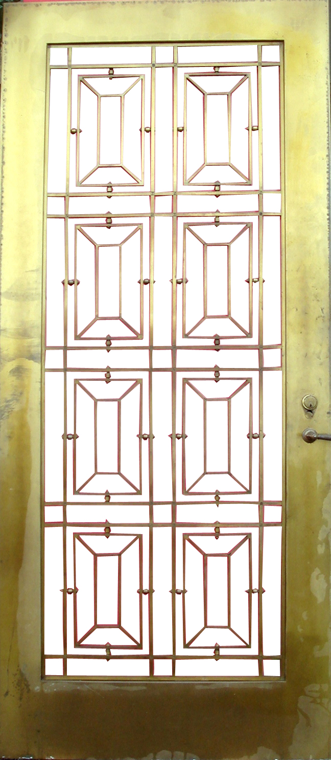 Fabulous Art Deco Bronze Door with Glass Enclosure  Modernism