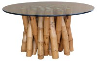 Bamboo Dining Table W/ Glass Top