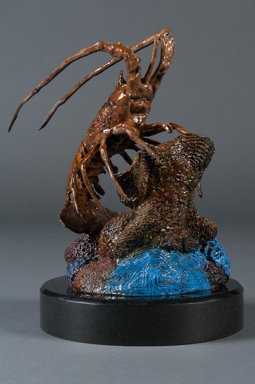 A Signed American Modern Bronze Floridian Lobster Sculpture  Modernism