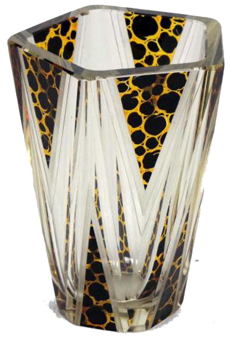 Art Deco Bohemian Geometric Cut Glass Vase  Modernism