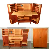 Teak and Sycamore Compact Home Office Desk and Storage ...