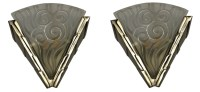Pair French Art Deco Wall Sconces By Degue | Modernism
