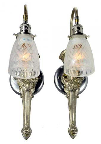 Edwardian French Art Nouveau Sconces  Modernism