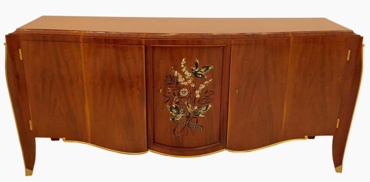 French Art Deco Inlay Butterfly Buffet By Jules Leleu