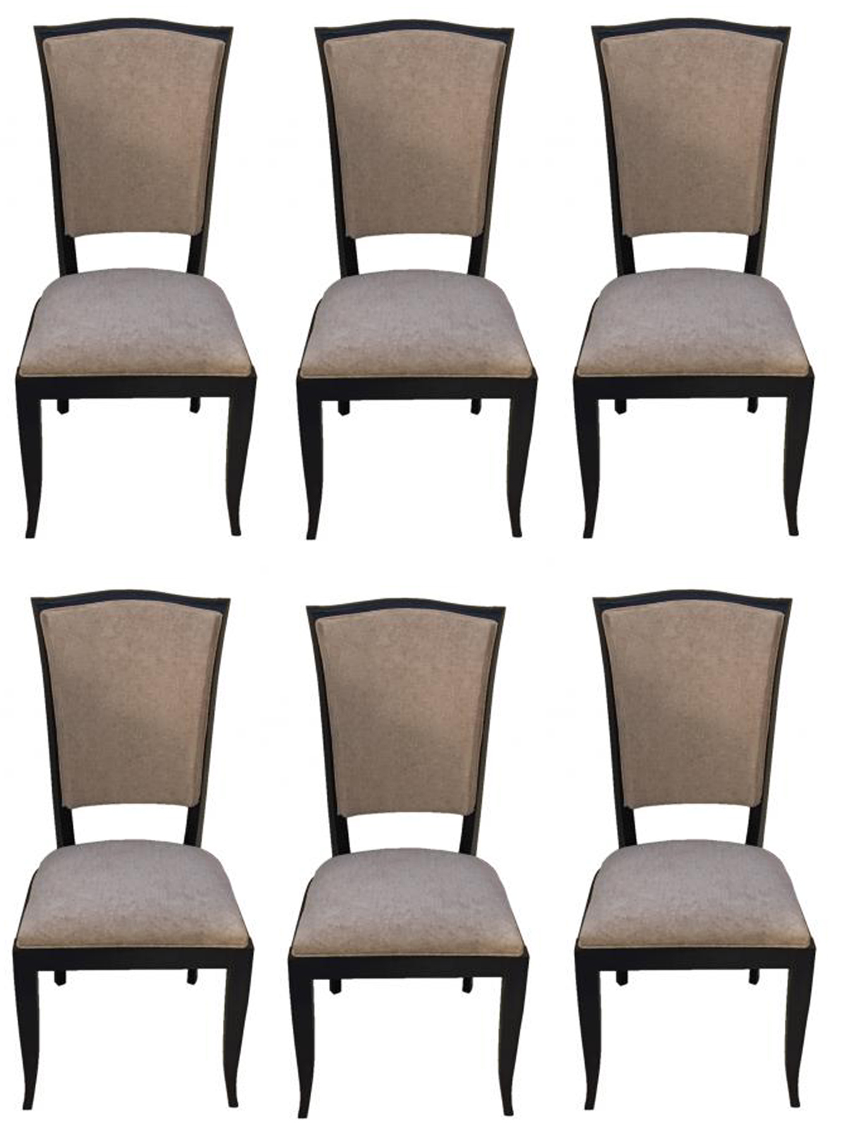 art deco kitchen chairs leather to cover french black lacquer dining set of six