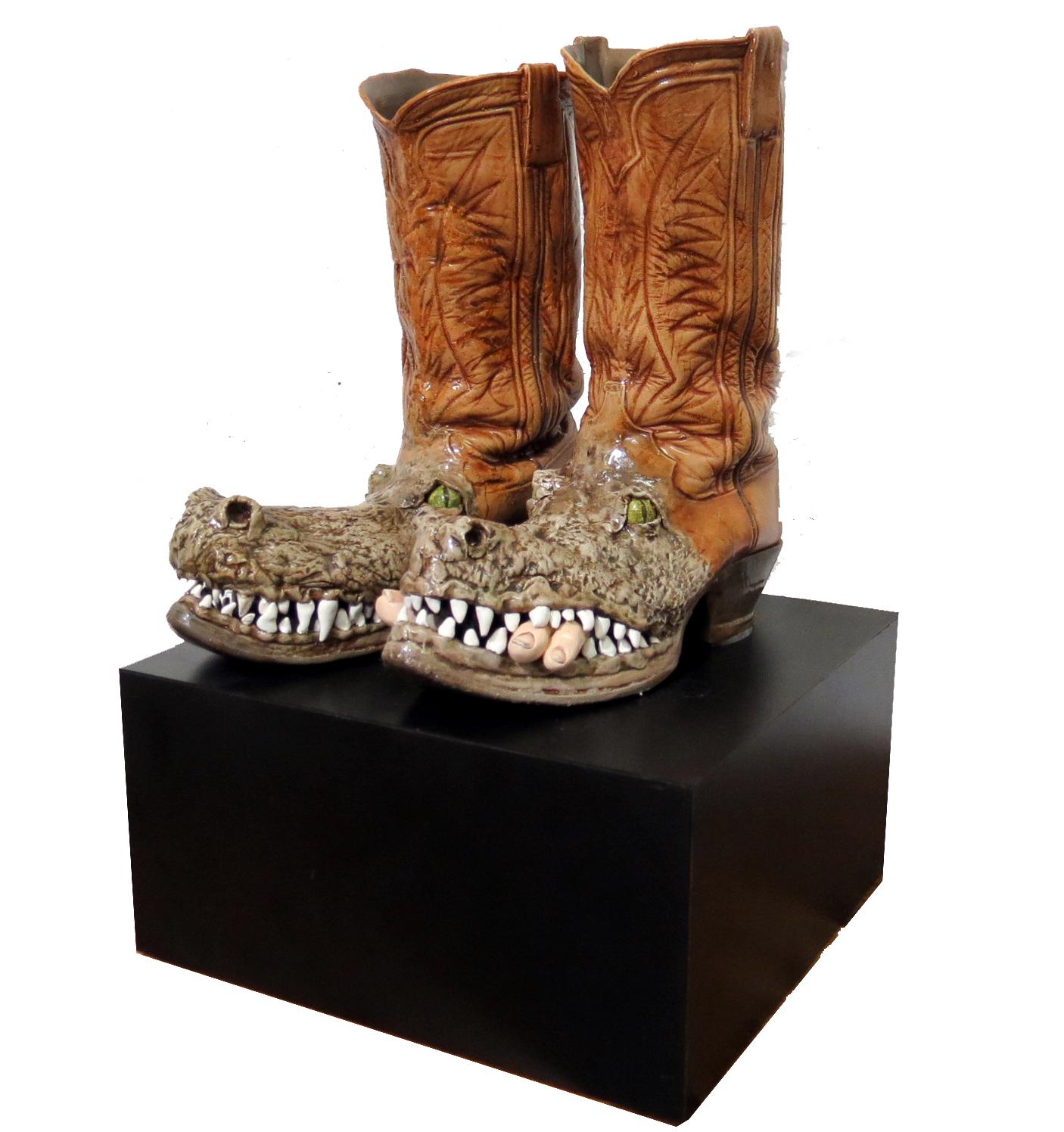 Genuine Alligator Boots Sculpture By Bob Howell  Modernism