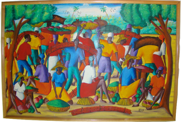Colorful Haitian Oil Painting on Canvas Signed by Artist Job  Modernism