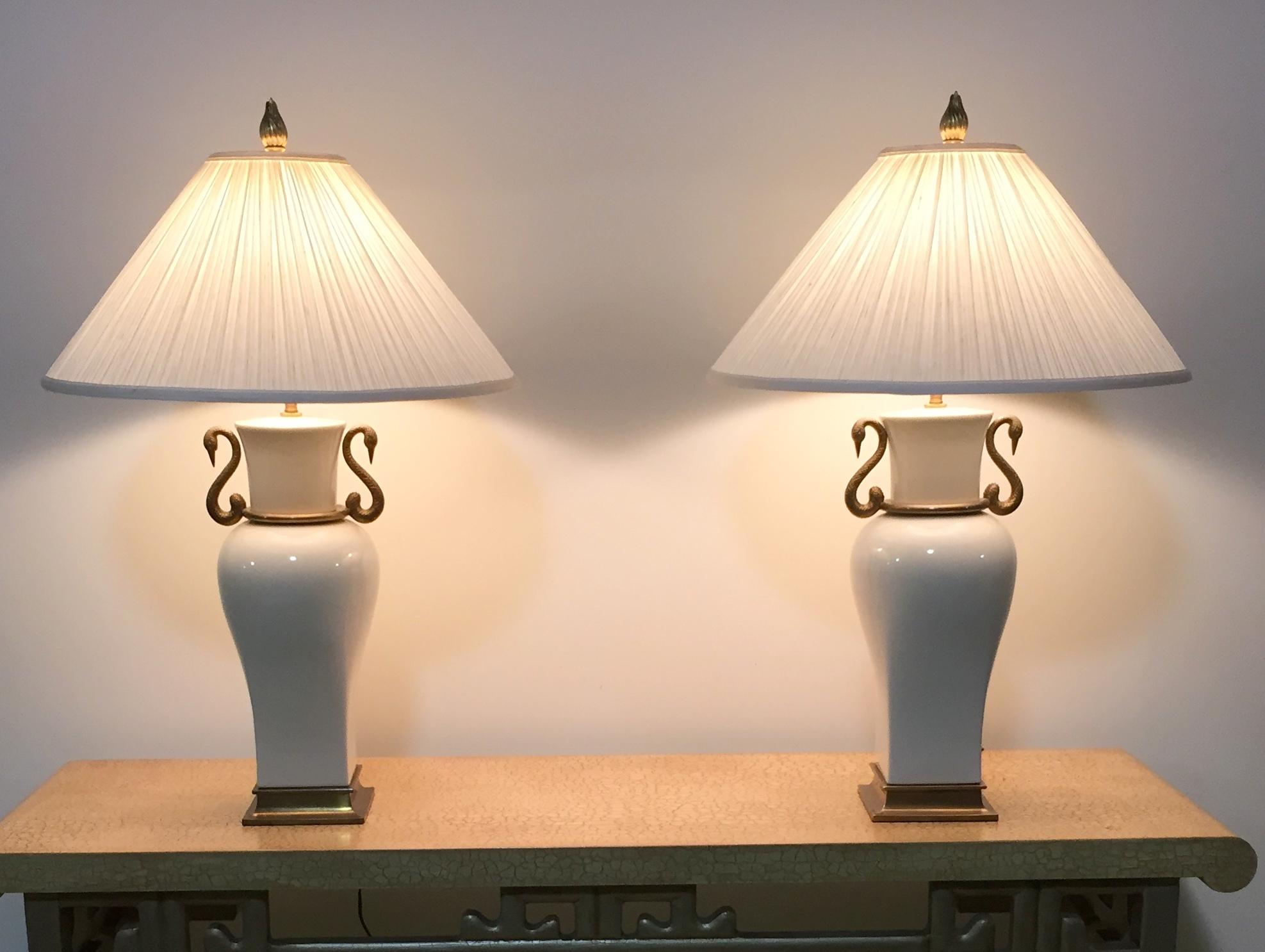 Pair 1980 Vintage Chapman Porcelain  Brass Table Lamps