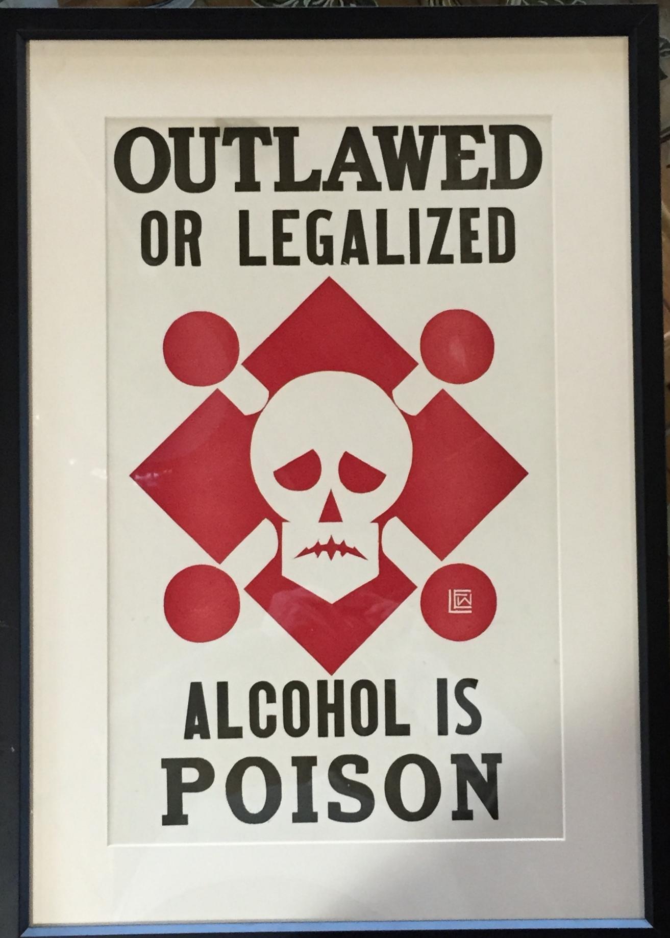 ALCOHOL IS POISON 1920 VINTAGE SILKSCREEN POSTER Modernism