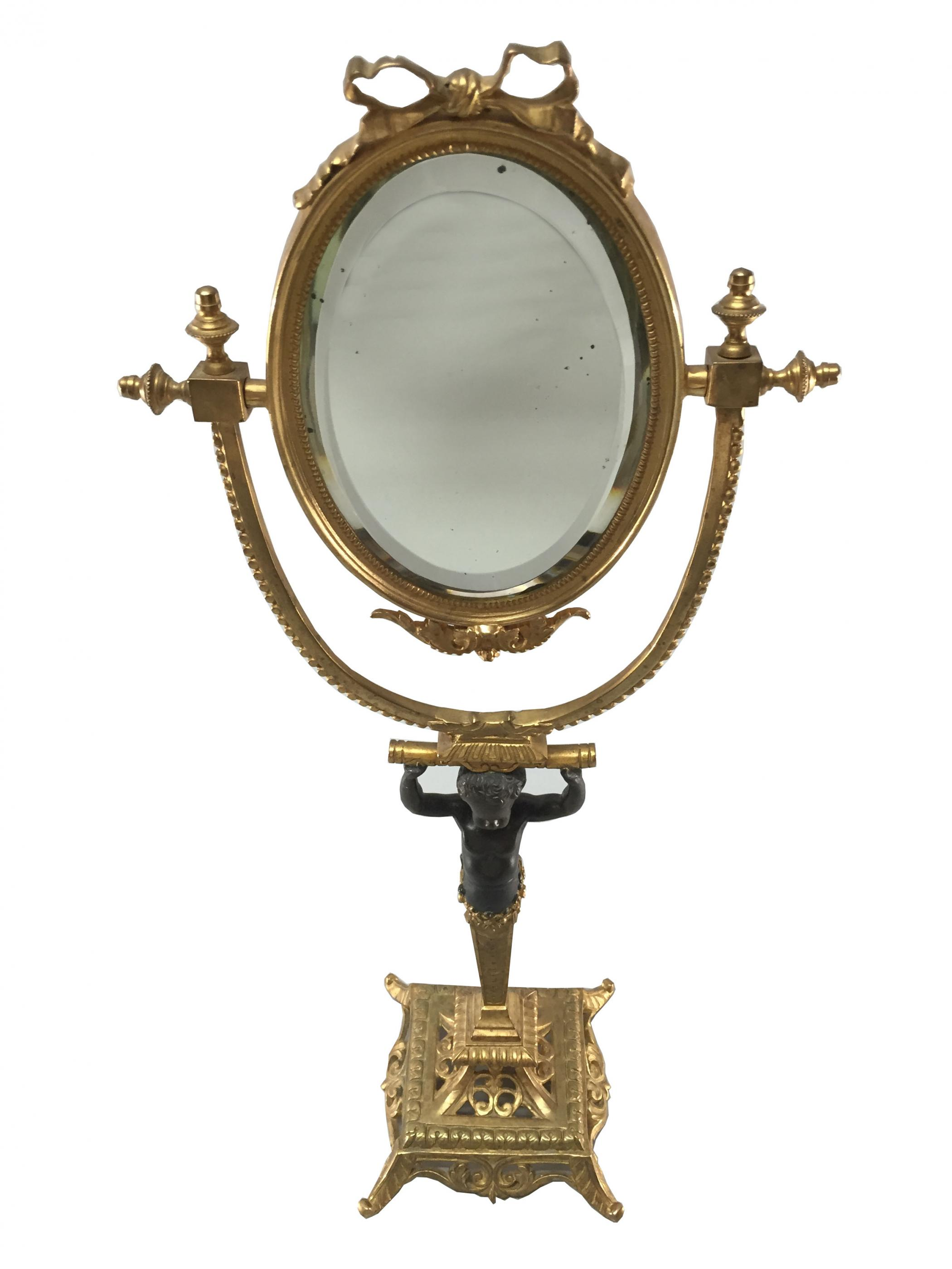 Empire Style Egyptian Influence Oval Mirror On A Stand
