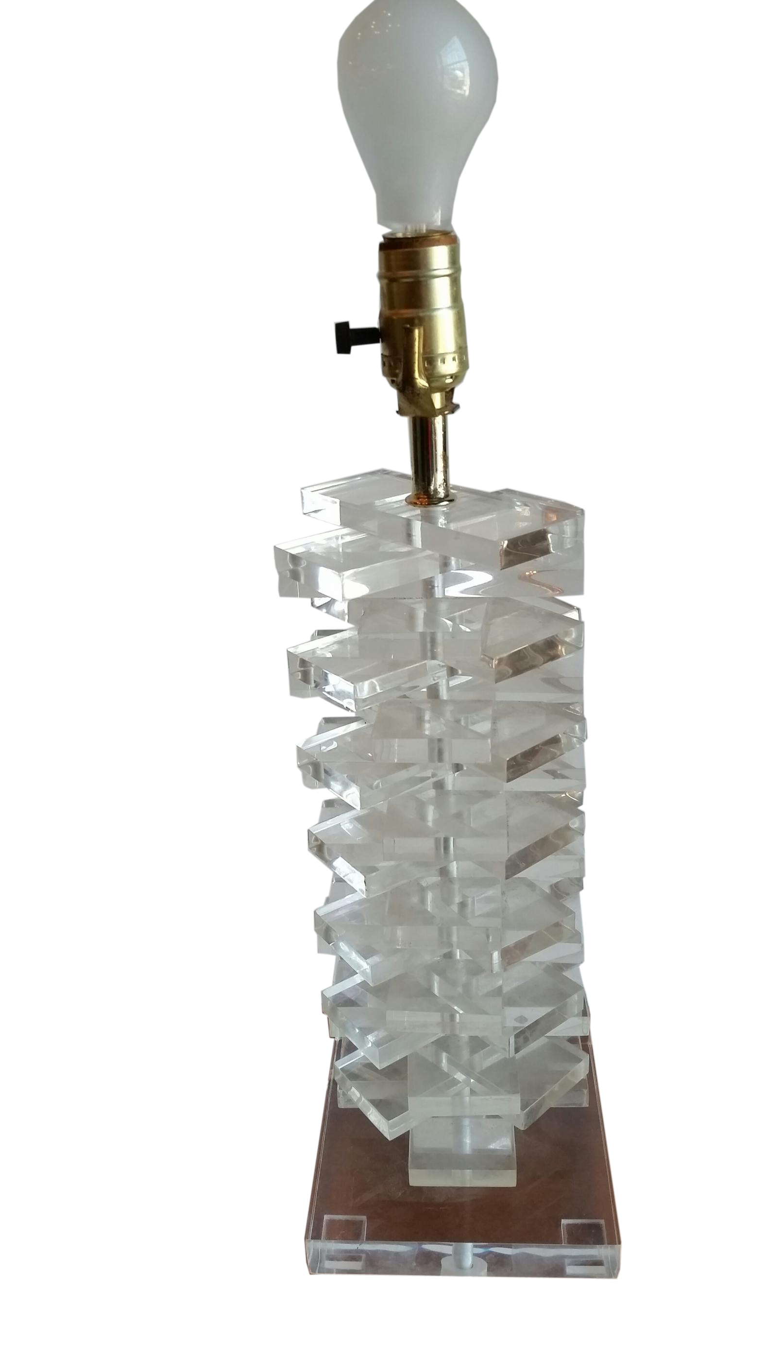 Vintage Lucite Table Lamp Stacked Rectangles Modernism
