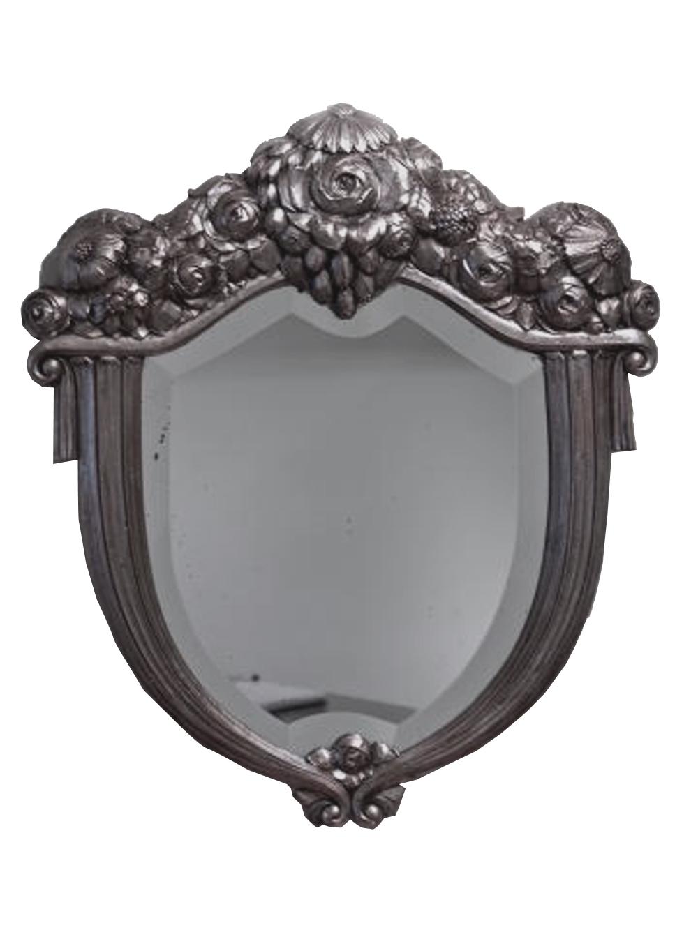 Paul Follot French Art Deco Silver Leaf Shield Mirror