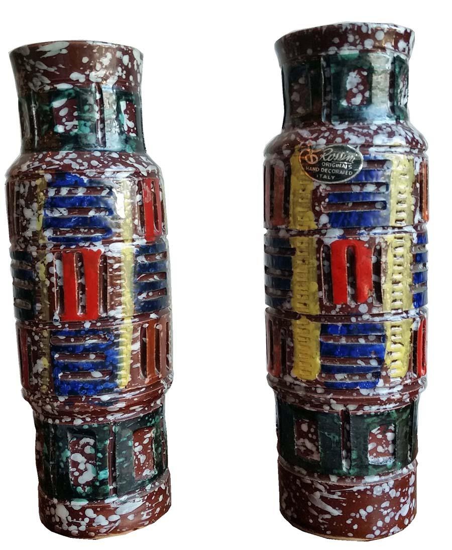 Pair Of Rossini Italian Ceramic Mid  Century Vases