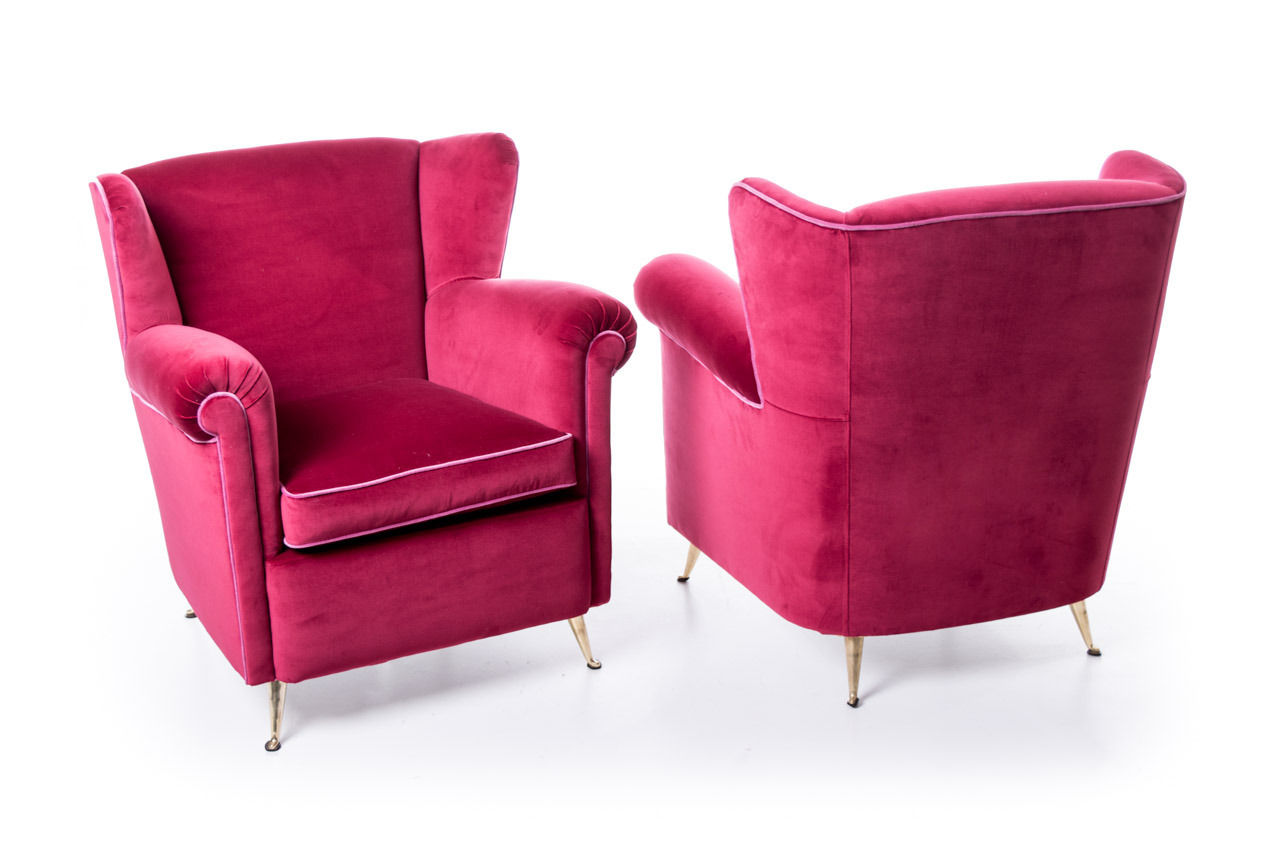 sofa magenta faux leather reclining pair fifties armchairs upholstery mcm modernism