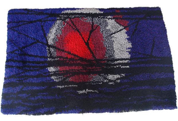 Mid Century Modern Danish Rya Rug In Vibrant Colors