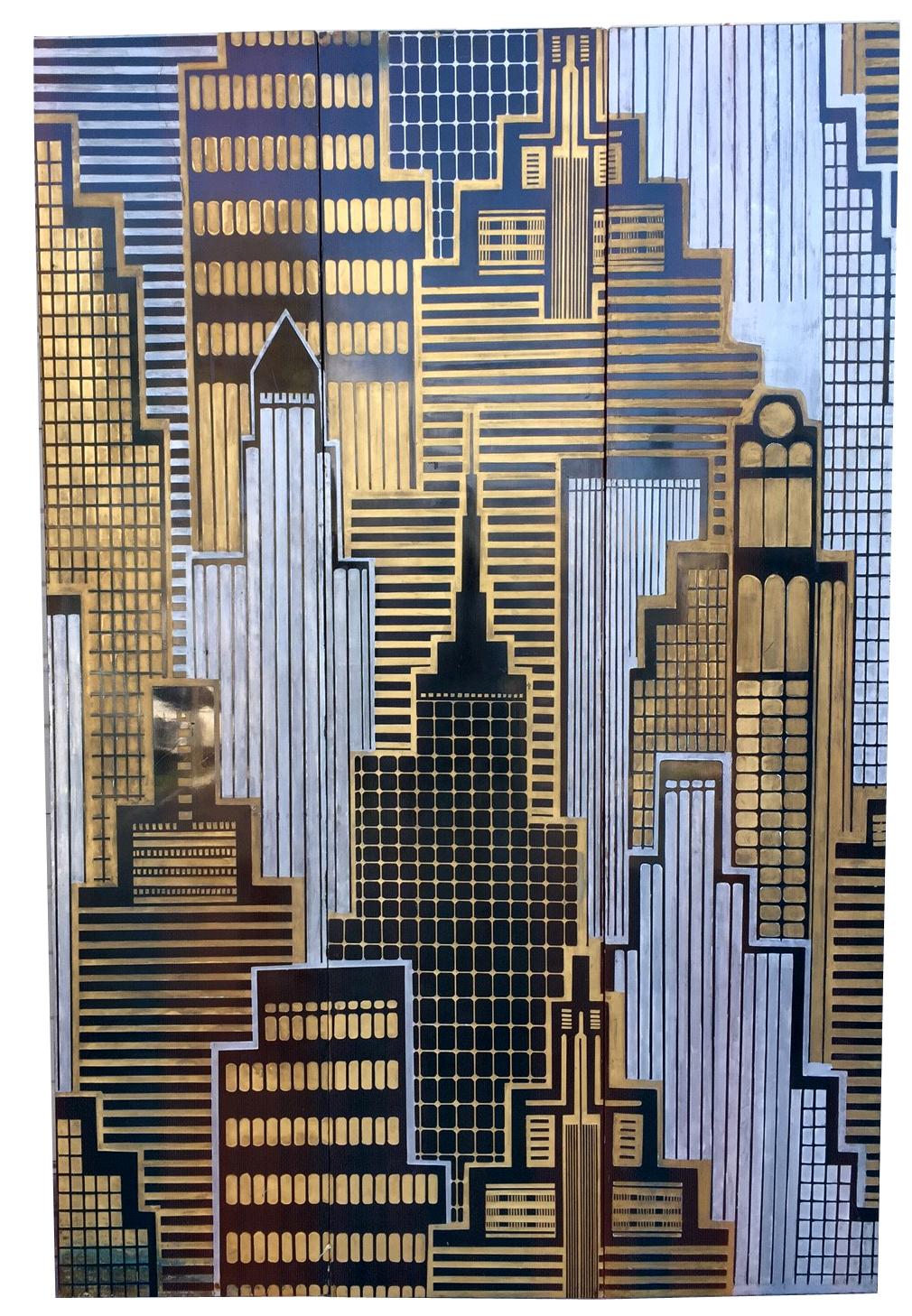 Skyscraper Cityscape Three Panel Screen Or Wall Sculpture