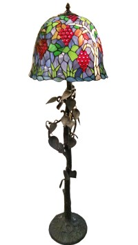 Tiffany Style Floor Lamp - Tree Trunk And Vine Leaves Base ...