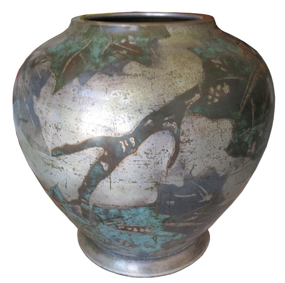 WMF German Art Deco Ikora Dinanderie Vase  Modernism