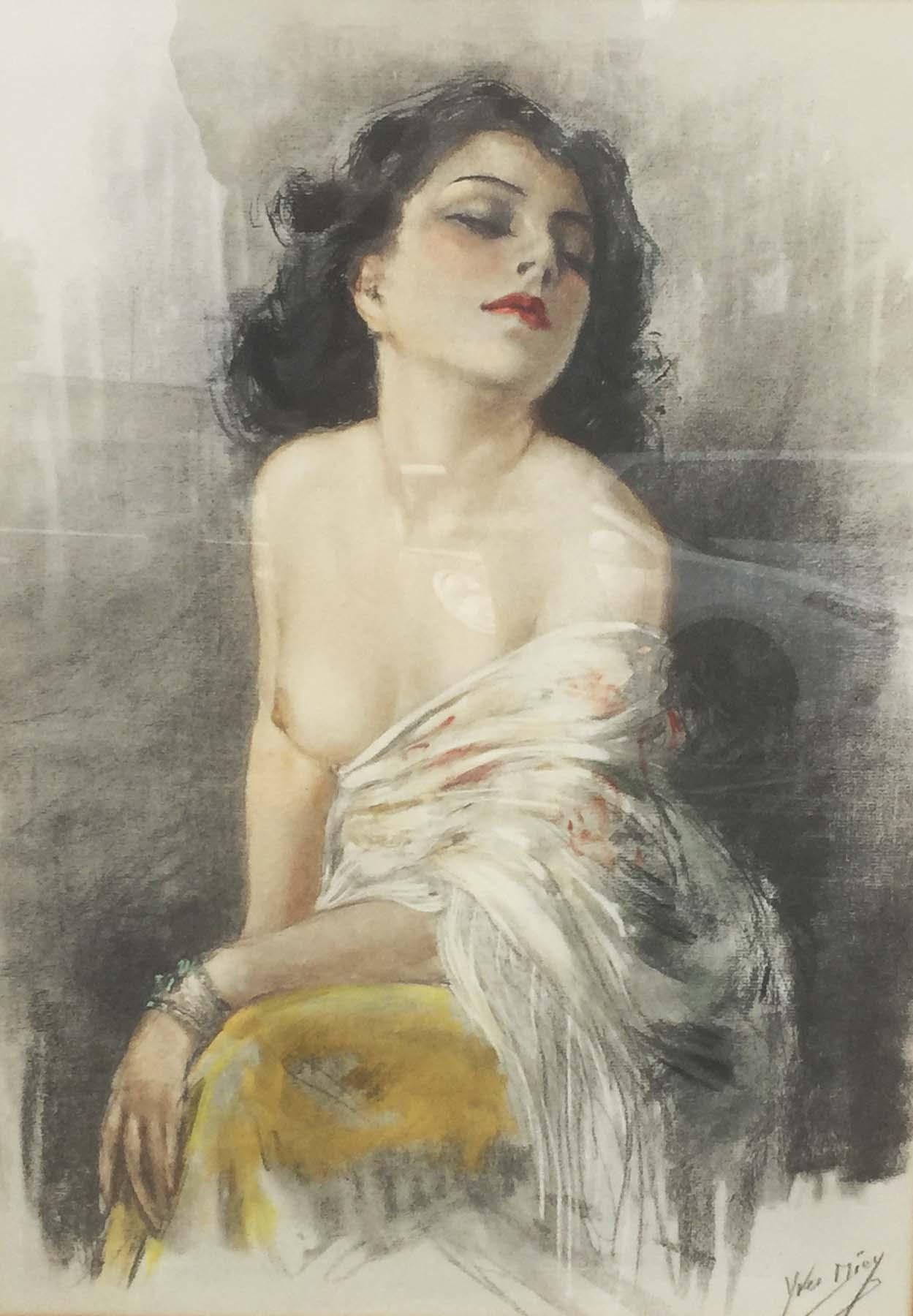 Yves Diey Original Watercolor Art Deco C1930 France Nude