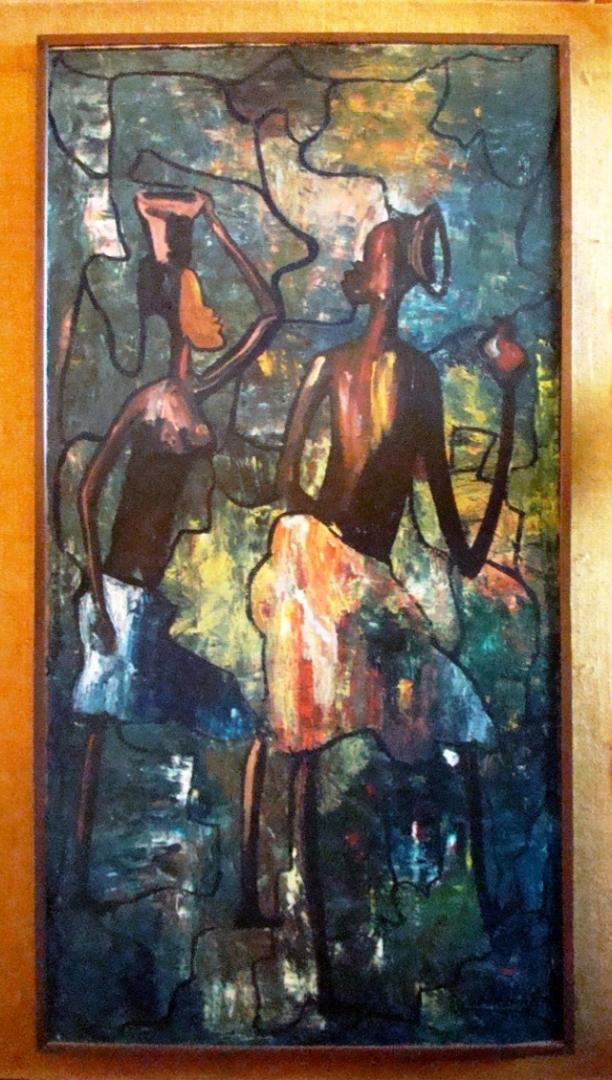 Mid Century Modern African Tribal Painting Modernism