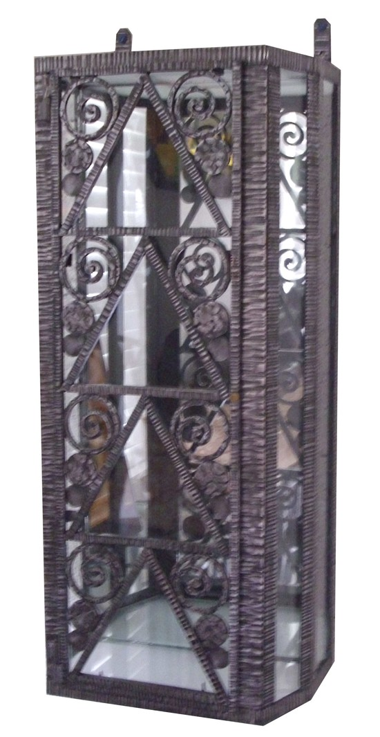 French Art Deco Wrought Iron Wall Display Cabinet Vitrine