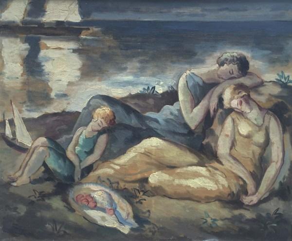 """bord De Mer"" Art Deco 1920; Beautiful Oil Canvas"