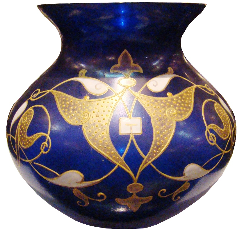 Small Blue Art Noveau Glass Vase with Gold Enamel Work