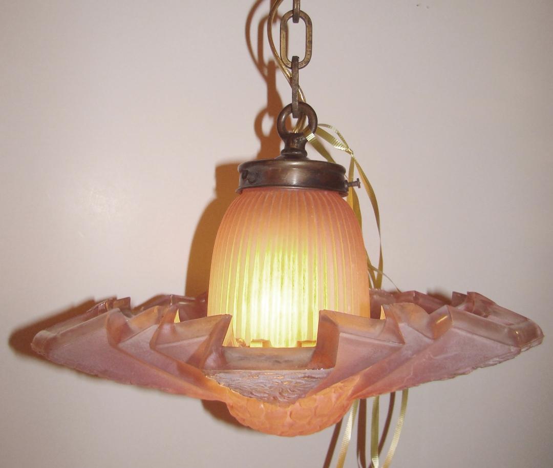 Consolidated Modernizer Glass Shade 1930s Art Deco Light  Modernism