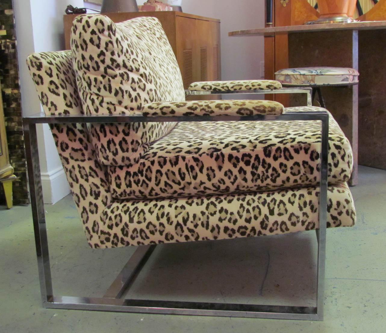 zebra print office chair grey and white a 1970 39s milo baughman leopard chrome lounge
