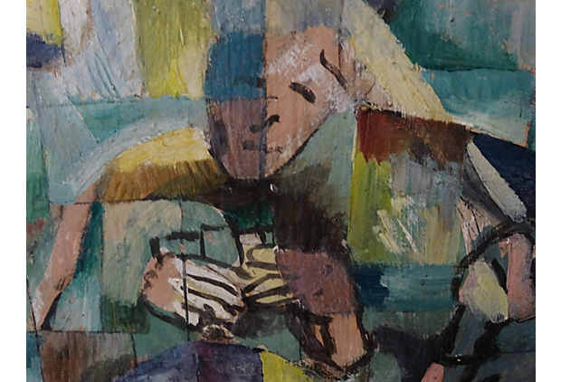 Mid Century Cubist Oil Painting of a Backroom Poker game  Modernism