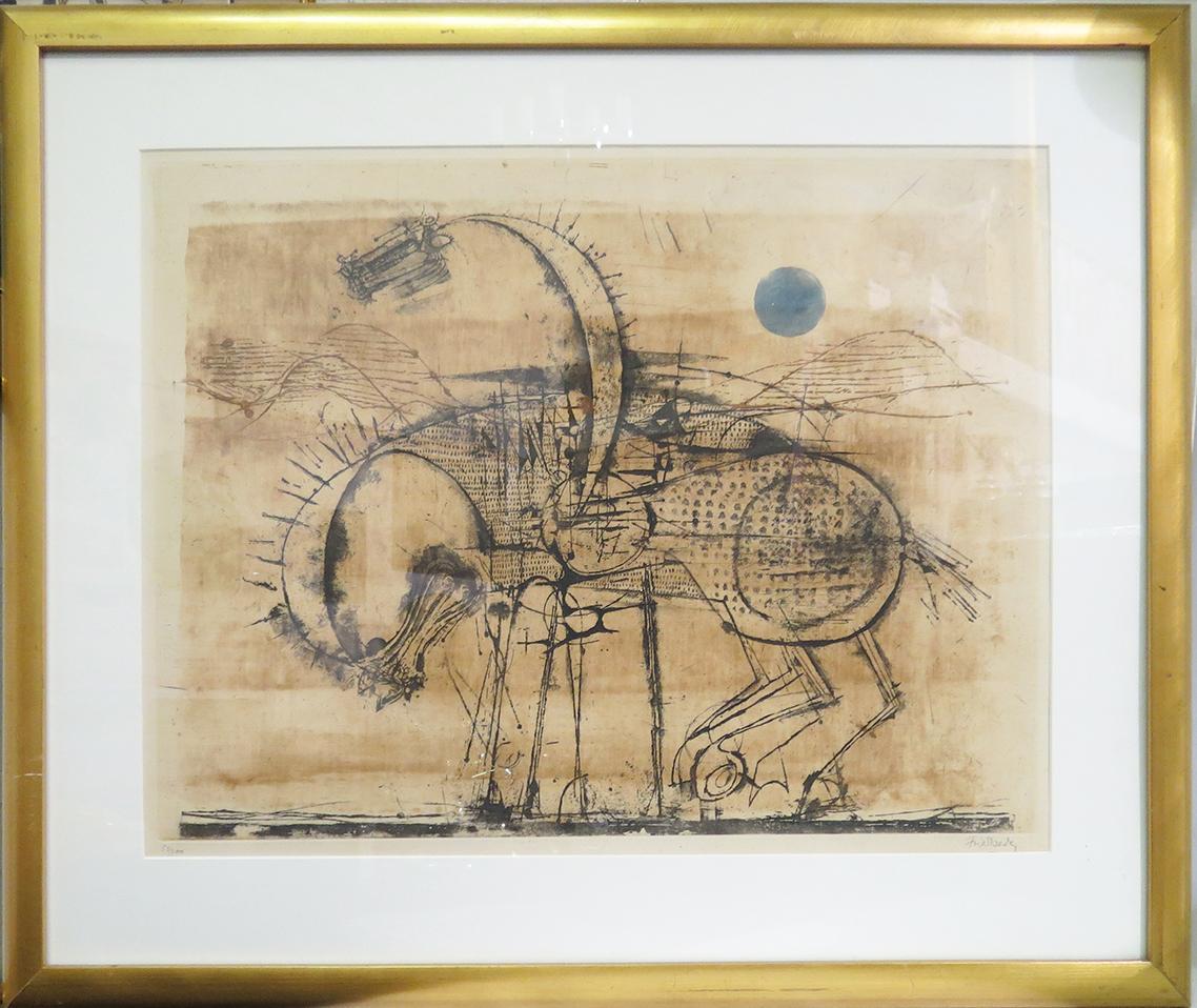Johnny Friedlaender Trojan Horse Etching Mid Century