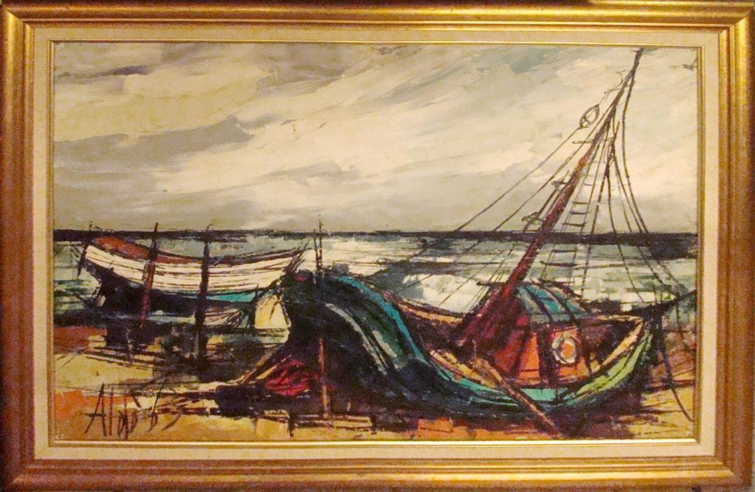 Mid Century Modern 1970 S Linear Oil Painting Of Boats