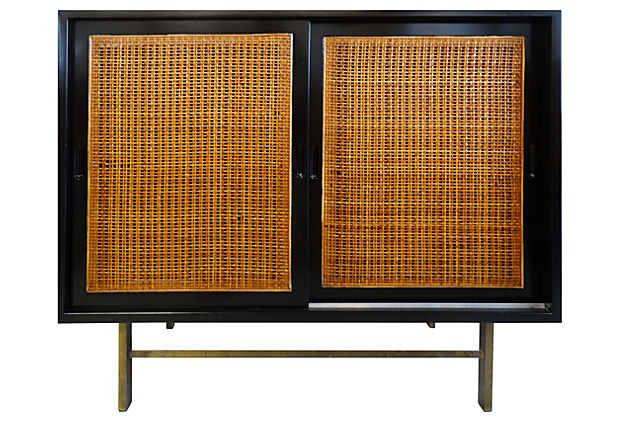 Midcentury Modern Lacquered  Rattan Cabinet  Modernism