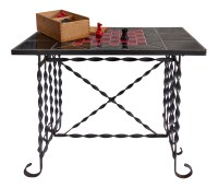 Mid-Century Wrought Iron Tile Top Chess Table | Modernism