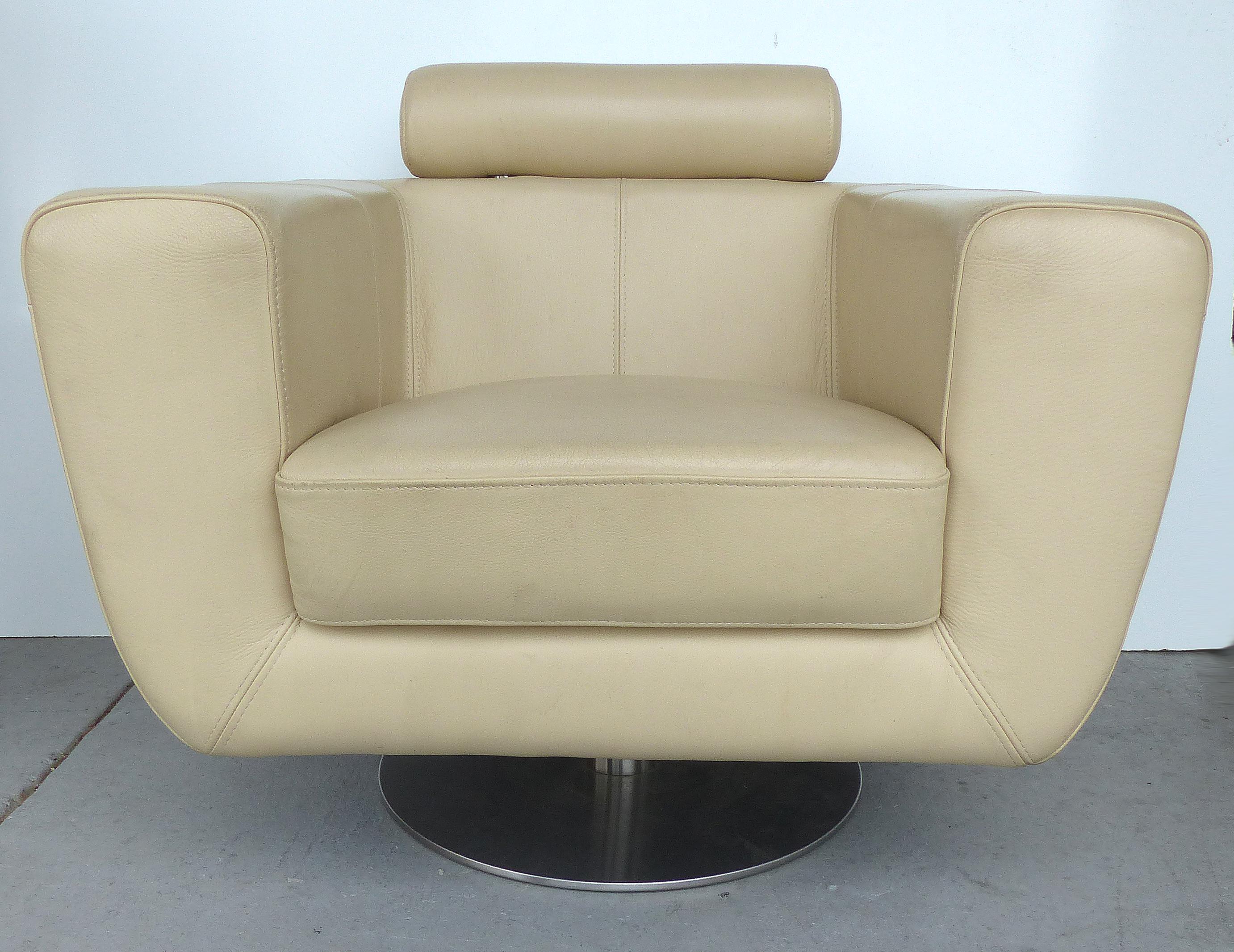 Modern Beige Leather Swivel Club Chair  Modernism