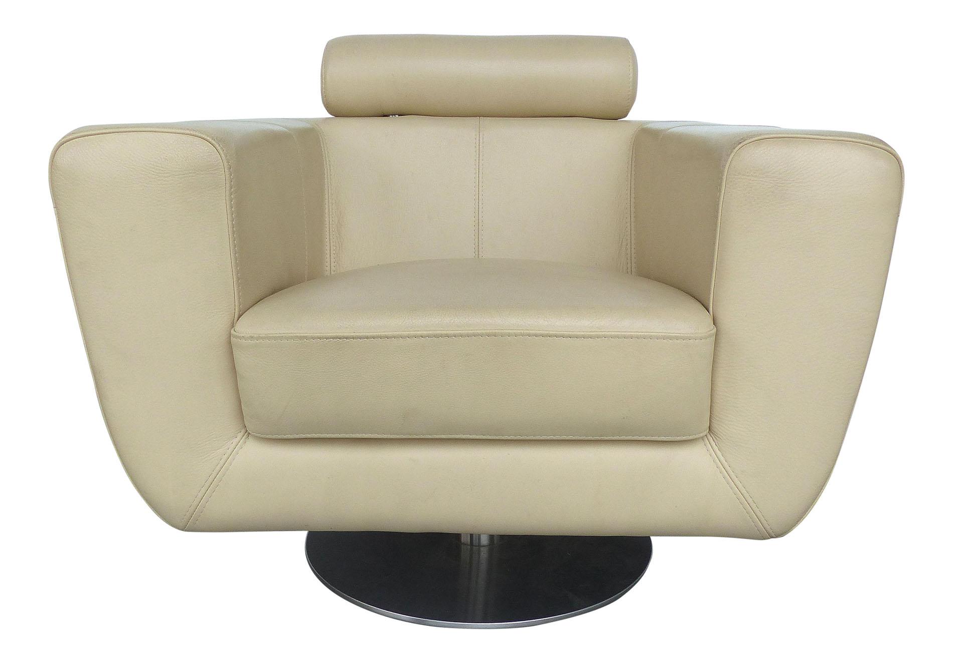 swivel club chair teal faux fur saucer modern beige leather modernism